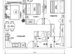 Layout căn hộ 2PN the Sun Avenue - Macro